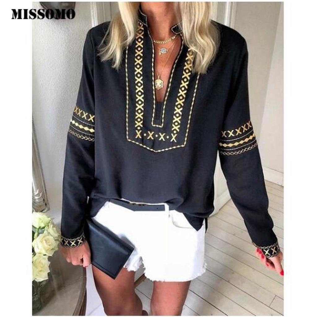 MISSOMO T Shrit Women Vintage Long Sleeve Loose National Style Print Women Tops Plus Size 5xl Tee Shirt Femme T-shirt Homme 82