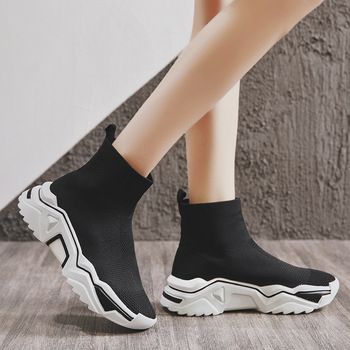 SWYIVY Sock Snow Boots Woman Hook Loop 2018 Ankle High Female Casual Shoes Velvet Warm Cotton Padded Snow Boots Hip Hop Winter