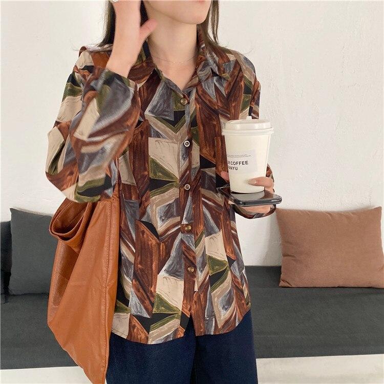 H9987b95801f54b78bfcdb36b8972613cD - Spring / Autumn Turn-Down Collar Long Sleeves Print Buttons Pocket Blouse