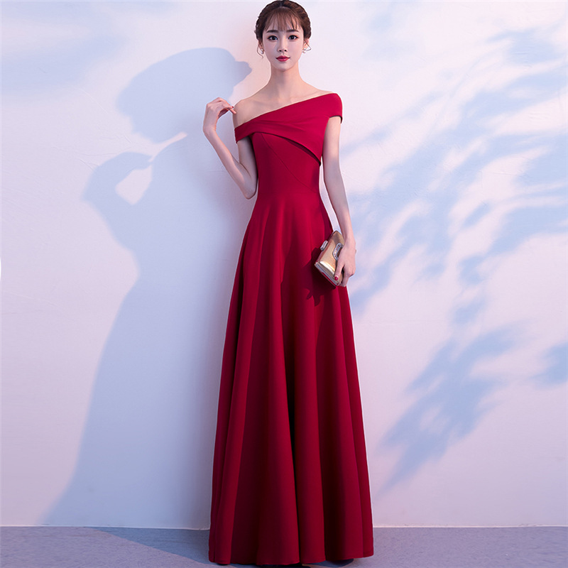 Dress For Toast Bride Evening Gown 2019 Spring New Style Off-Shoulder Long Slimming Marriage Banquet Long Dress Women's