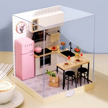 DIY Dollhouse Furniture Miniature Wooden Miniaturas Doll House Box Theatr Toys for Children Birthday Gifts cutebee doll house miniature dollhouse with furniture kit wooden house miniaturas toys for children new year christmas gift