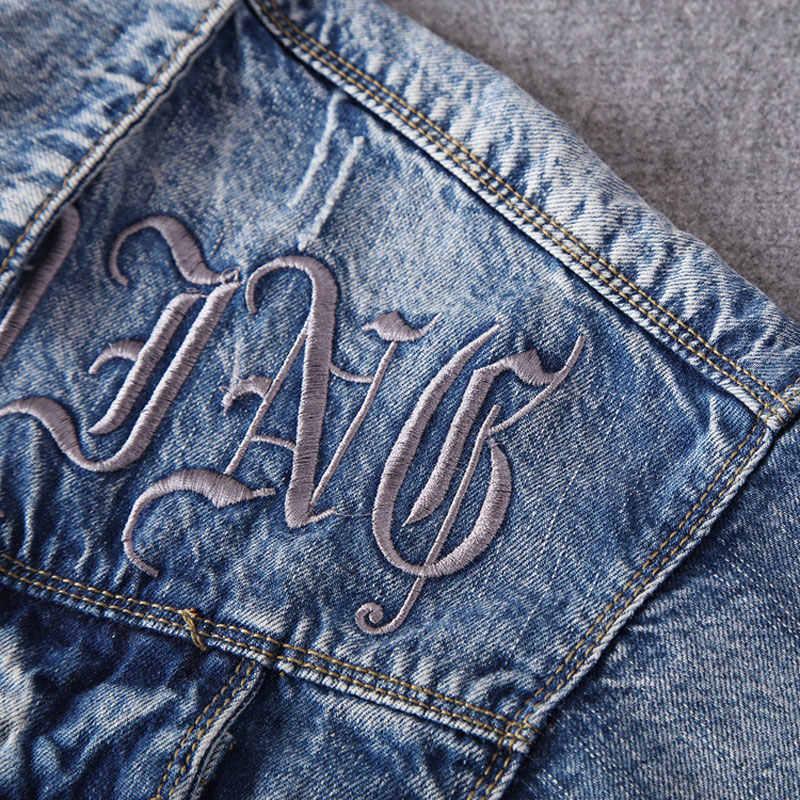 Fashion Streetwear Mannen Jassen Blauwe Kleur Borduren Designer Denim Jasje Mannen Punk Stijl Katoen Jassen Nieuw Hip Hop Jassen