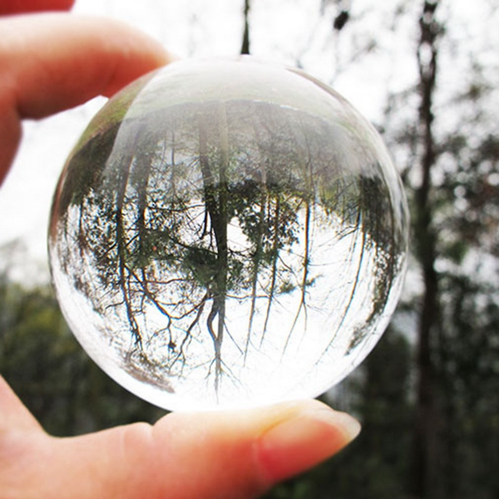 60mm 80mm 100mm Clear Round Glass Artificial Crystal Healing Ball Sphere Decoration Drop Shipping in Figurines Miniatures from Home Garden