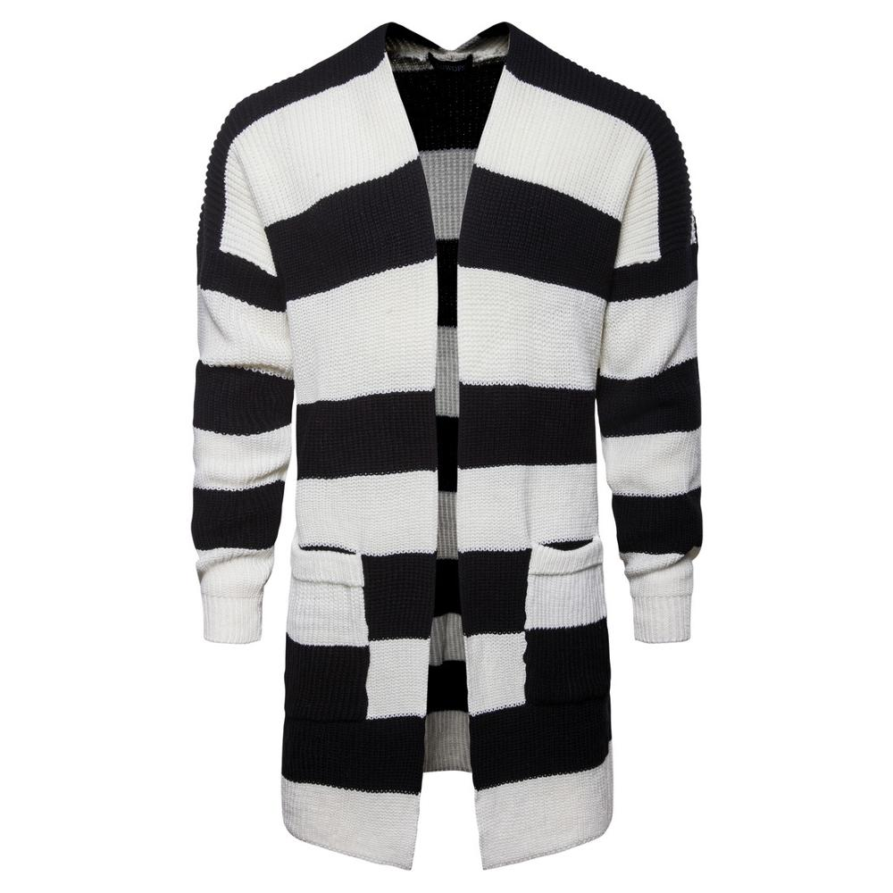 Sweaters Cardigan Male Striped Slim Windproof Coats Homme Autumn Casual Long MOOWNUC 2019 Sweaters American Style Men Fashion