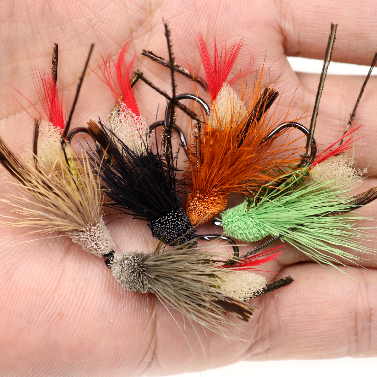 5PCS #10 Trout Fishing Fly Grass Hopper Fly terrestrial Hopper Fly Floating Bass Crappie Bug Bait Artificial Lure 26