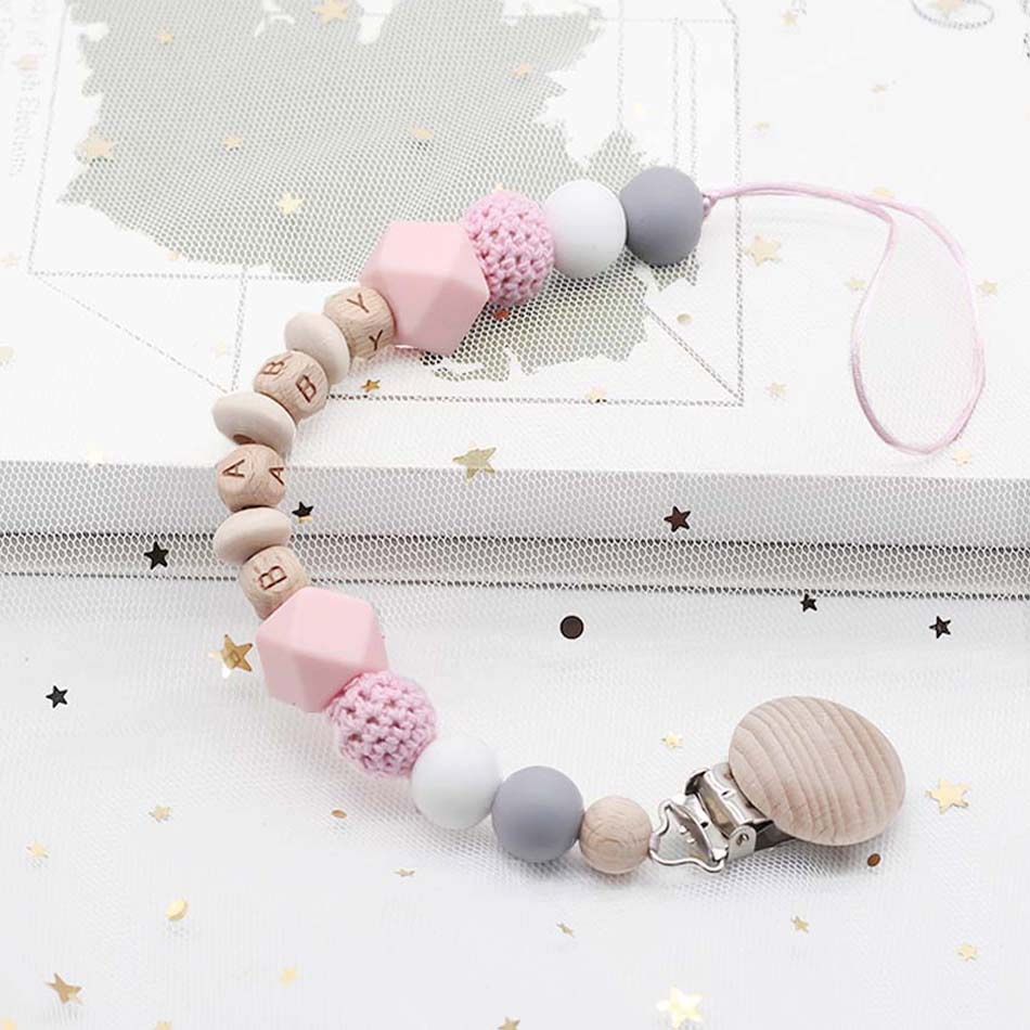Personalized Name Custom Baby Name Pacifier Clips Beech Beads Handmade Silicone Pacifier Chains Toddler Teether Teething Chain