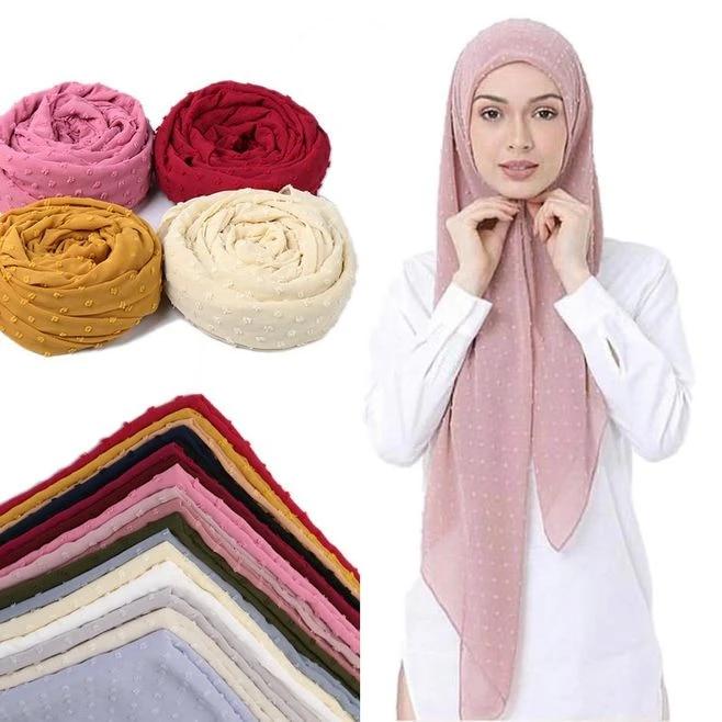 Women Large Scarf Hijab Muslim Plain Beads Head Turban Shawl Wrap Scarves Stole