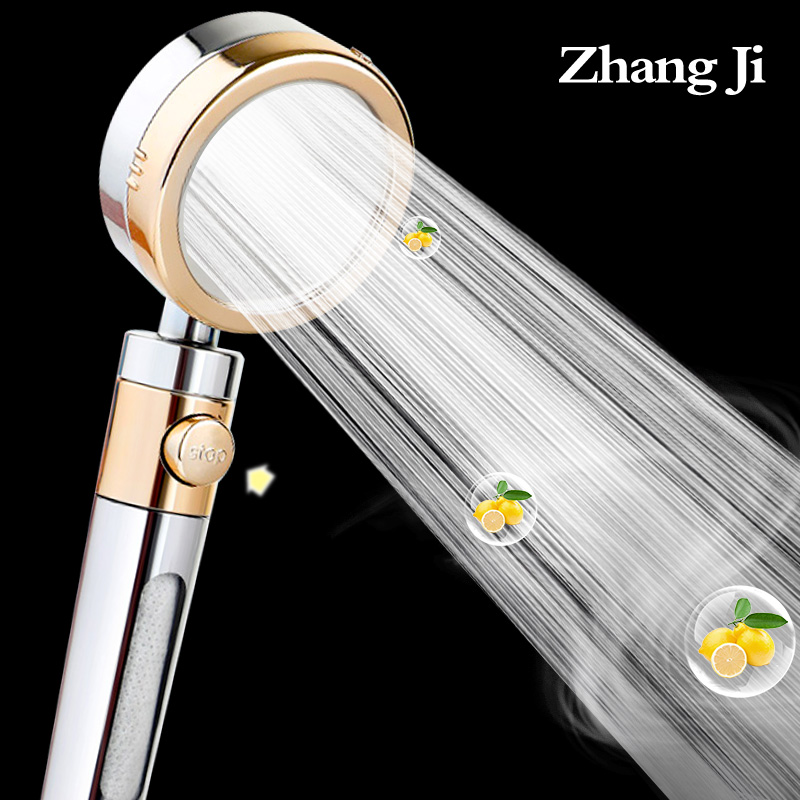 Zhangji Lemon Aroma Shower Head With Water Stop Button Can Double Purify Water Quality High Pressure Water Saving Skin Care