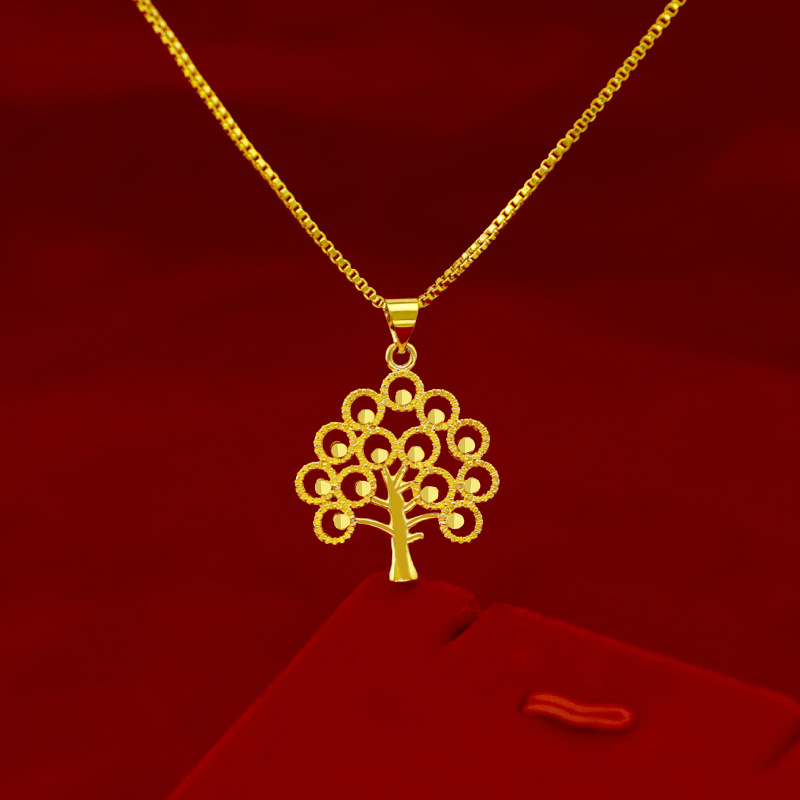 Korean Fashion Pure 14K Yellow Gold Necklace for Women Wedding Jewelry Delicate Money Tree Pendant Necklace Chain Chocker Gifts