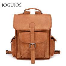 JOGUJOS Genuine Leather Casual Backpack Luxury Men Women Fashion Laptop Unisex Daypacks Rucksack School Bag