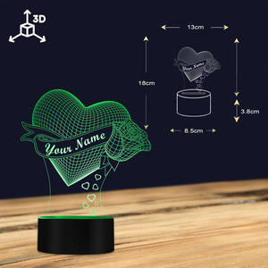 Image 4 - Loving Heart With Rose Personalize Name 3D Effect Optical Illusion Table Lamp Custom Name LED Night Light Valentine Gift For Her