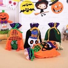 New Halloween Decoration15cm*27cmpumpkin Witch Velvet Bag Carnival Party Gift Bag Childrendecoration Portablebeam Mouthcandy Bag