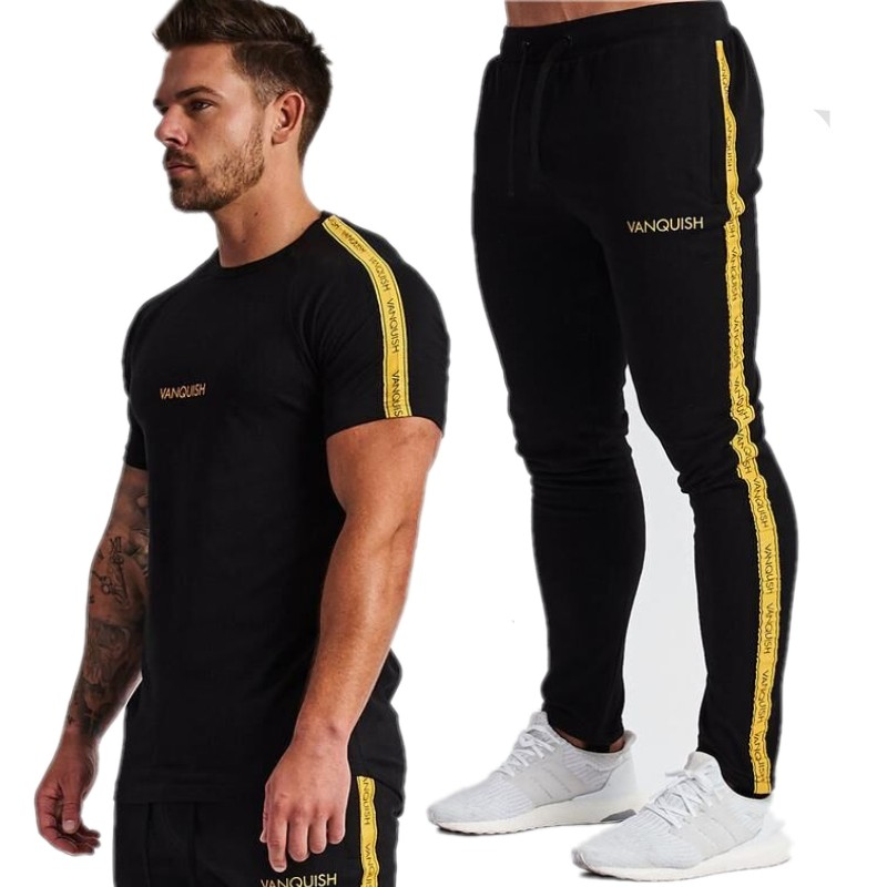 2019 New Summer Short Sleeve Sets Men Casual Vq Printing Suits For Men Chinese Style Suit Sets Bodybuilding Pants