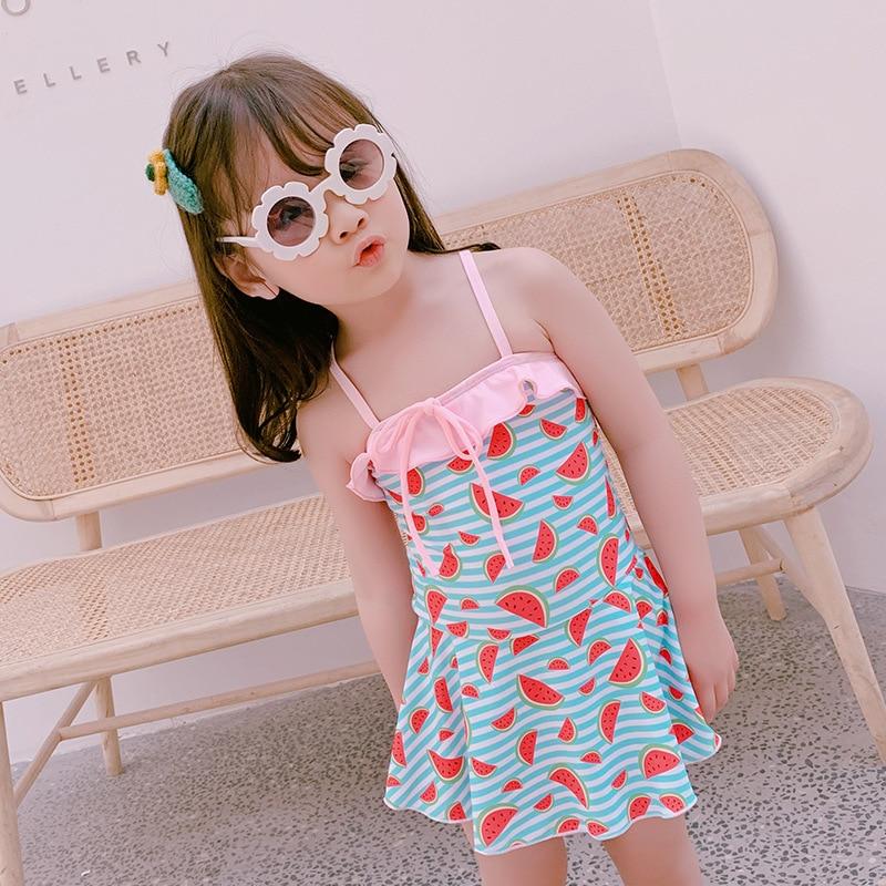 Children One-piece Cute Watermelon Printed A Cool Summer Dress Girls Swimwear Children Hot Springs Swimwear