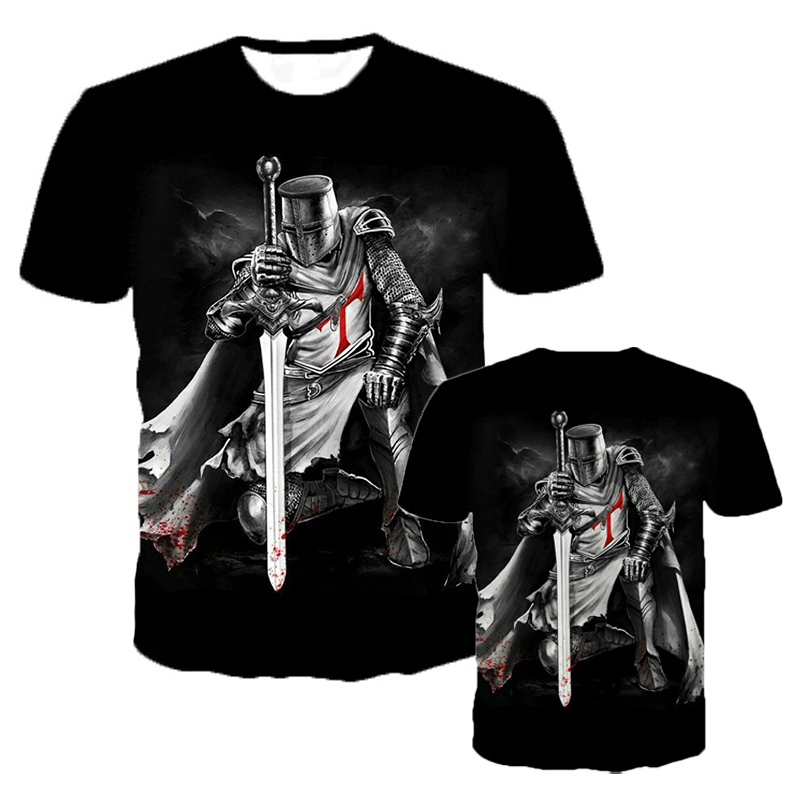 Knights Templar 3D Printed Short Sleeve T Shirt Men Women Fashion Casual Cool T-shirts Hip Hop Streetwear Oversized Tee Tops