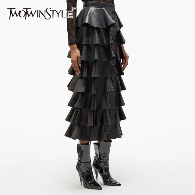 Deuxtwinstyle cuir synthétique polyuréthane noir à volants femmes jupes taille haute boutons Streetwear femme jupe 2020 automne mode nouveaux vêtements