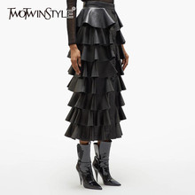 TWOTWINSTYLE Black PU Leather Ruffle Women's Skirts High Waist Buttons Streetwear Female Skirt 2019 Autumn Fashion New Clothing(China)