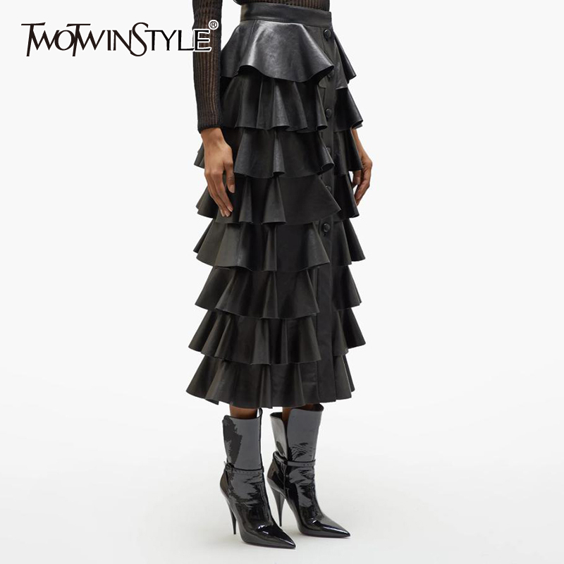 TWOTWINSTYLE Black PU Leather Ruffle Women's Skirts High Waist Buttons Streetwear Female Skirt 2020 Autumn Fashion New Clothing