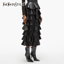 TWOTWINSTYLE Black PU Leather Ruffle Womens Skirts High Waist Buttons Streetwear Female Skirt 2020 Autumn Fashion New Clothing
