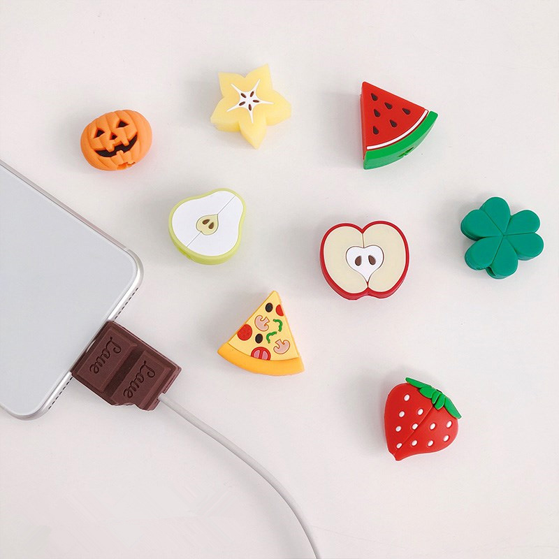 NEW Silicone Cute Fruit Cable Organizer For iPhone Cable Protector De Cabo USB Chager Wire Holder For Android TYPE-C Cable