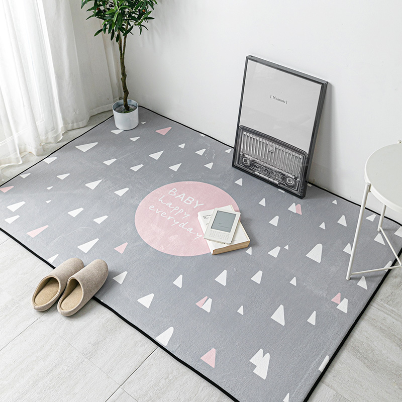 Simple Home Carpets Nordic Cartoon Living Room Carpet Rectangle Modern Child Girl Rugs Bedroom Bedside Blanket Yoga Teppich Mat