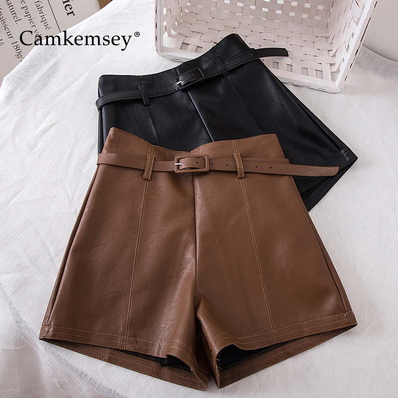 CamKemsey Korean Chic High Waist PU Leather Shorts Women Autumn Casual Solid Soft Leather Wide Leg Shorts With Sashes