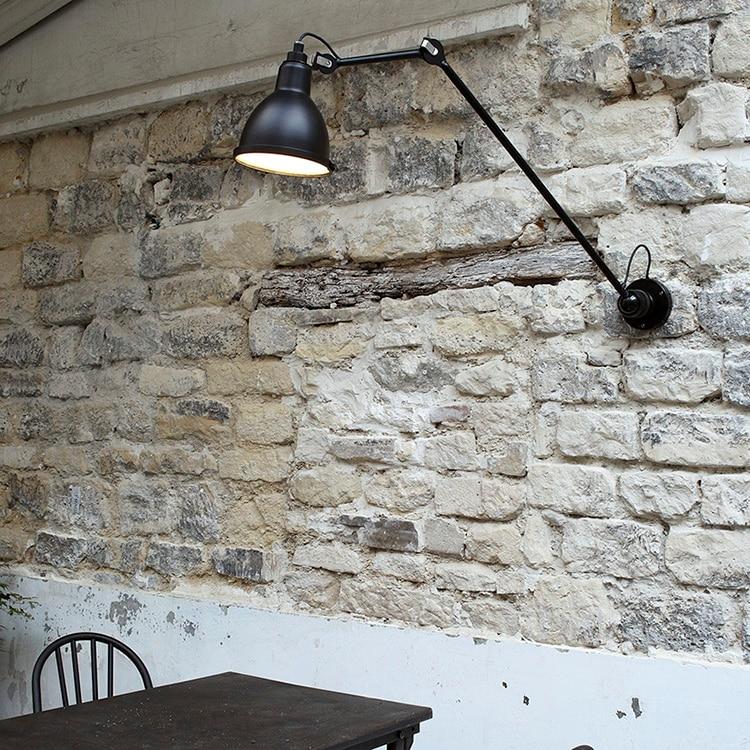 rotatable flexivel do vintage preto metal lampada de parede led 04