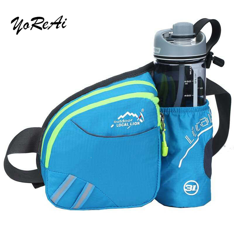 YoReAi Man Women Waist Belt Running Bags With Bottle Holder Sports Fanny Pack Bag For Camping Hiking Fishing Waist Pack Bags