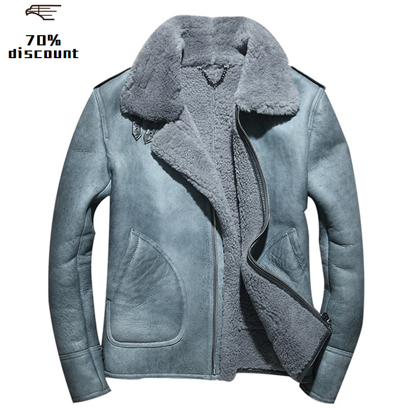 2020 Blue Men Biker Shearling Leather Jacket Plus Size XXXXL Winter Thick Slim Fit Genuine Russian Shearling Coat FREE SHIPPING