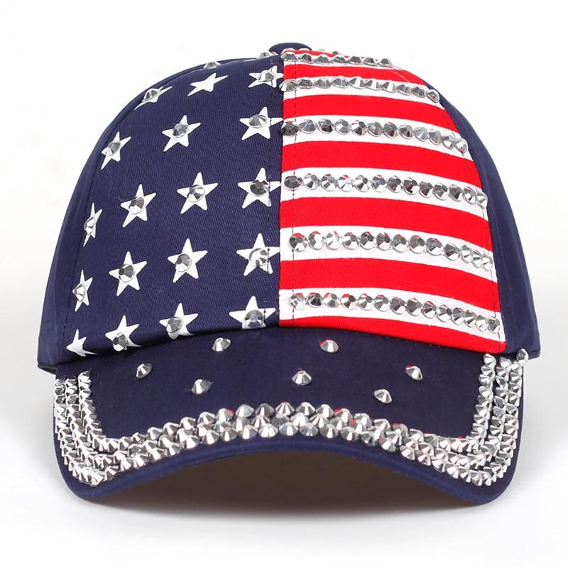 Usa Baseball Cap Women Men Summer 2019 American Flag Crystal Baseball Cap Snapback Hip Hop Hat Women Caps