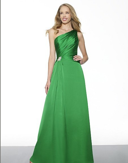 2014 Satin Faced Chiffon A-line One Shoulder Inverted Basque Waist Rhinestones Gems Bugle Seed Beaded Medallion Bridesmaid Dress