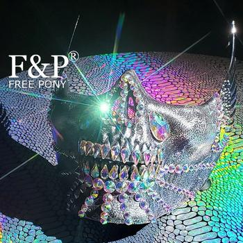 Burning Man Festival Olografica Del Cranio Del Rhinestone Mask Drag Queen Costume Gogo Dancer Accessori