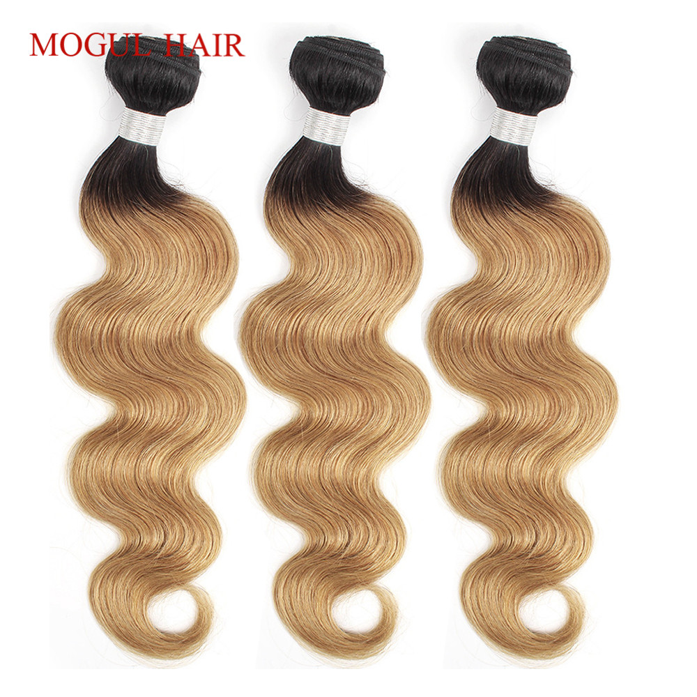 MOGUL HAIR 2/3 Bundles T 1B 27 Ombre Honey Blonde Bundles Indian Body Wave Hair Weave Non Remy Human Hair Extension 10-24 Inch