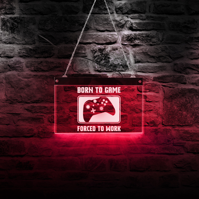 Geboren Zu Spiel Gezwungen Zu Arbeiten Lustige Video Controller Multi farbe LED Licht Playstation Lampe Neon Zeichen Gamer Kid zimmer Wand Dekor