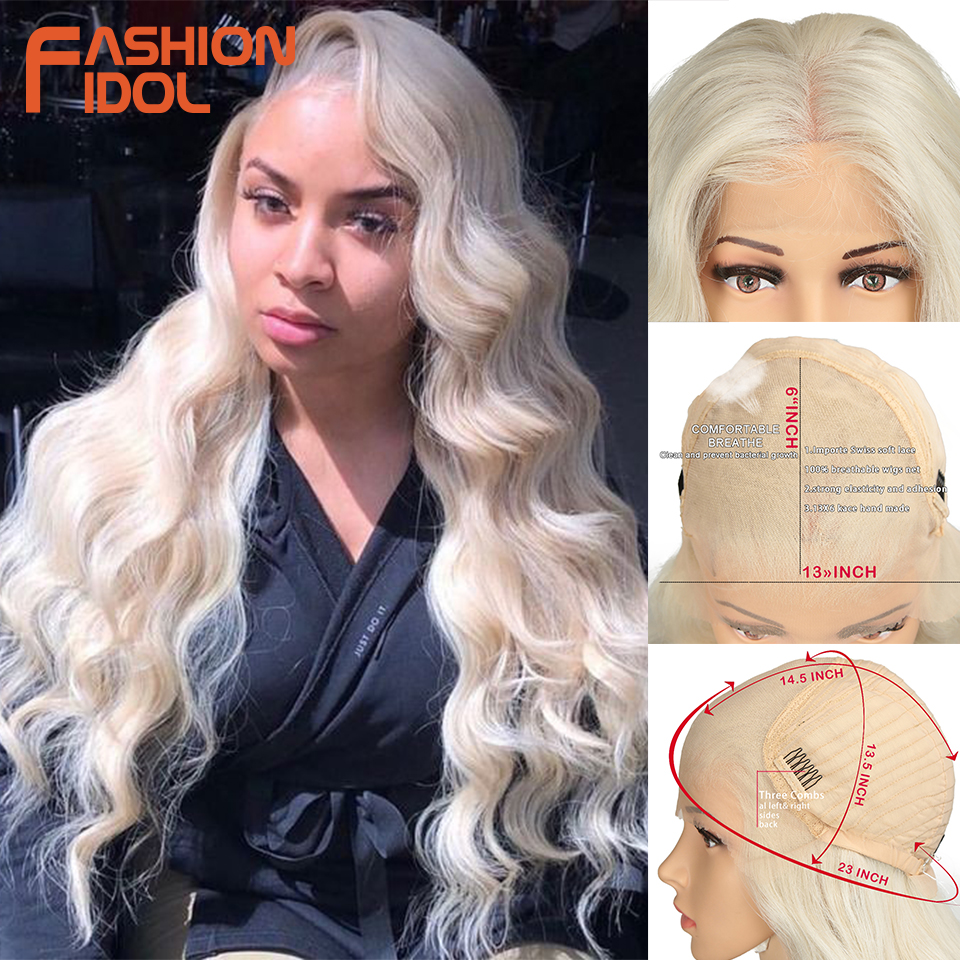 FASHION IDOL 28 Inch Deep Wave Lace Front Synthetic Wigs For Black Women Ombre 613# White Heat Resistant Long Wavy Cosplay Wigs