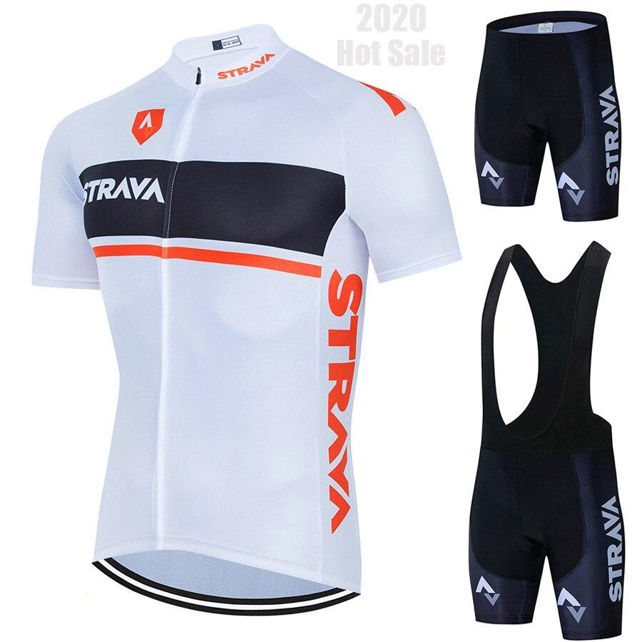 2020 nowa odzież rowerowa STRAVA zestaw koszulek rowerowych MTB Ropa Ciclista Hombre Maillot Ciclismo wyścigi ubrania do jazdy rowerem zestaw rowerowy