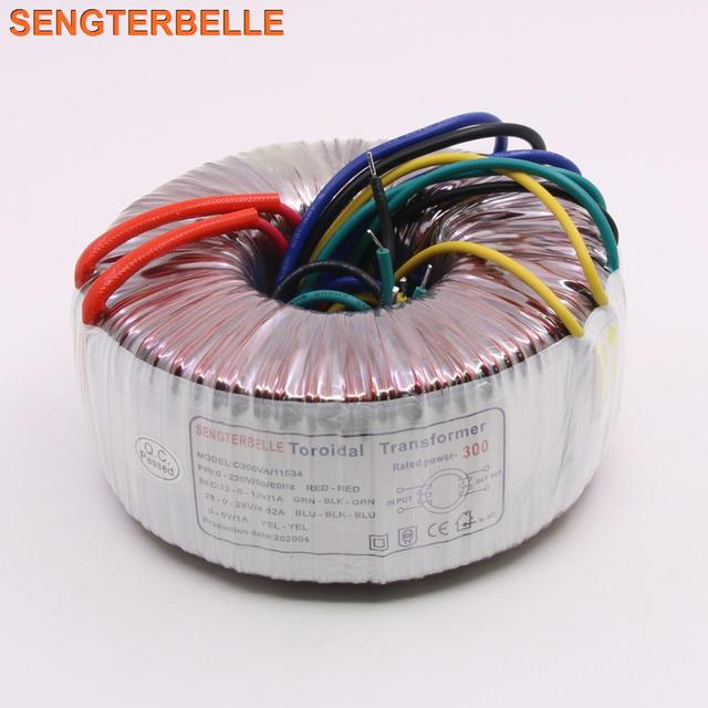 300 Вт двойной 28 в двойной 12 в одиночный 6 в блок питания, трансформатор, аудио усилитель 300VA тороидальный трансформатор из чистой меди