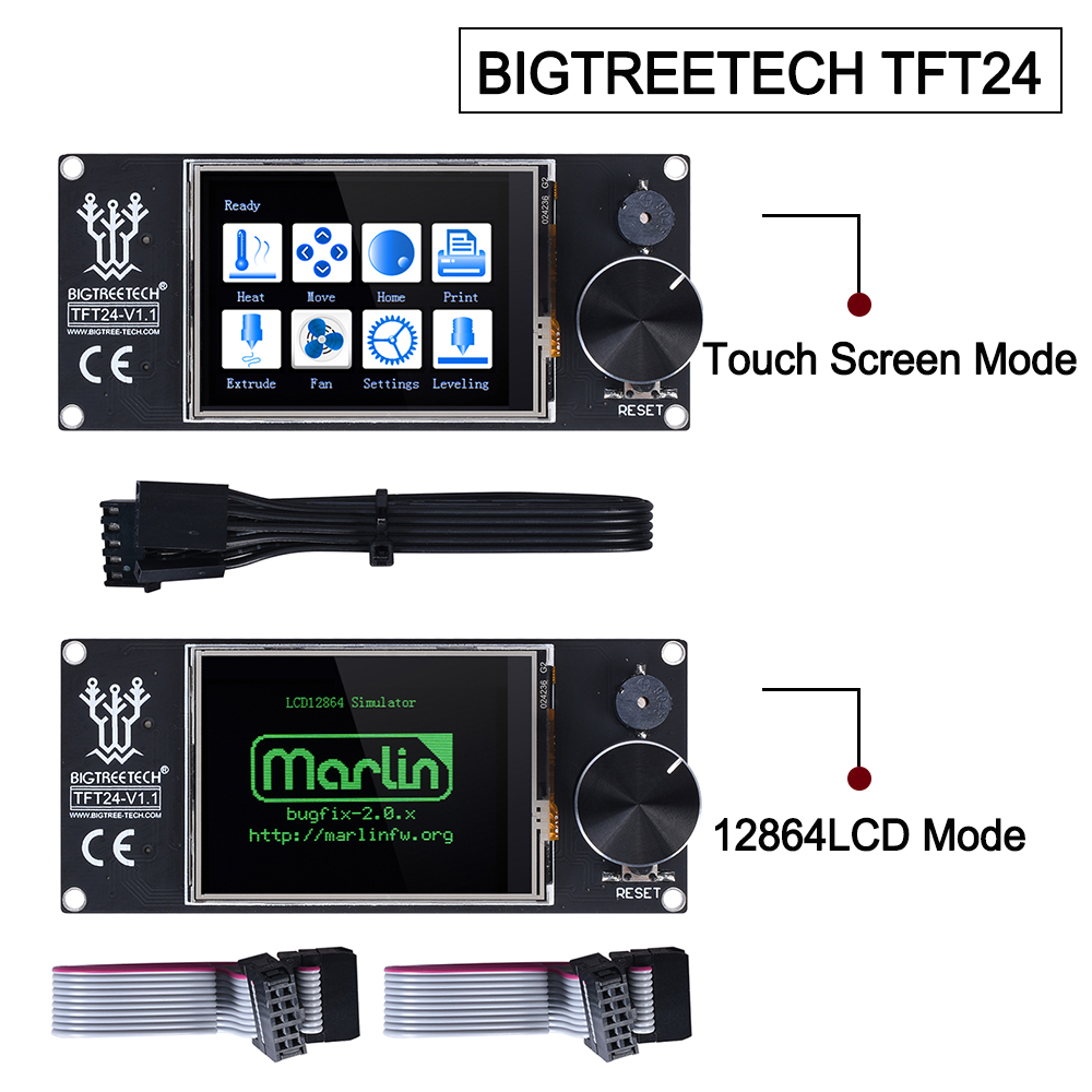 BIGTREETECH TFT24 V1 1 Touch Screen Display 12864LCD 3D Printer Parts VS MKS TFT2 4 For SKR PRO SKR V1 4 turbo Ender 3 upgrade