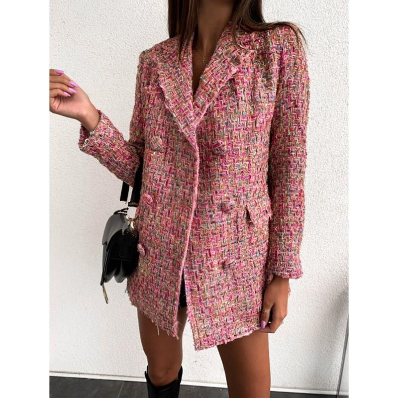 Women Plaid Tweed Blazer Elegant Office Double Breasted Long Sleeve Slim Coat Casual Sport Jacket Work Blazers