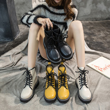 Купить с кэшбэком freeshipping2019 Winter women shoes British style patent leather comfortable beef tendon straps Martin short boots casual boots