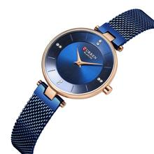 CURREN Female Clock Luxury Brand Rhinestones Woman Watch 2019 High Quality Blue Stainless Steel Waterproof Hardlex Wristwatches