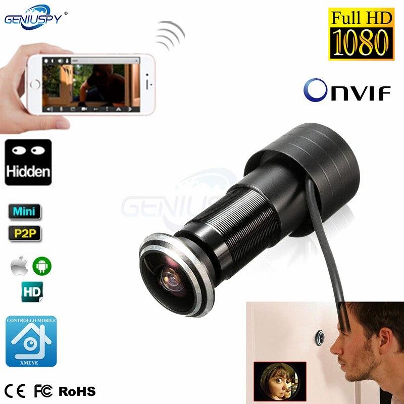 Porte oeil trou maison sécurité 1080P HD H.265 1.78mm objectif grand Angle FishEye CCTV réseau Mini judas porte IP caméra P2P Onvif