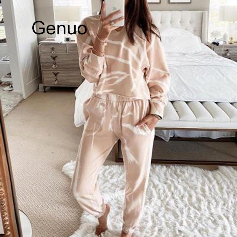 Fashion Casual Home Suit Hoodies Tops And Pants Two Piece Set Spring Women Tracksuit Top Trousers Casual Sportswear Matching Set
