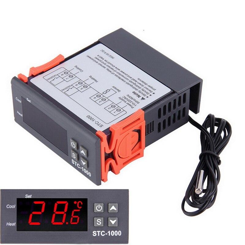 Цифровой регулятор температуры, термостат, реле инкубатора со светодиодом 10 А, нагрев, охлаждение-1000, 12 В, 24 В, 220 В, новинка, Лидер продаж