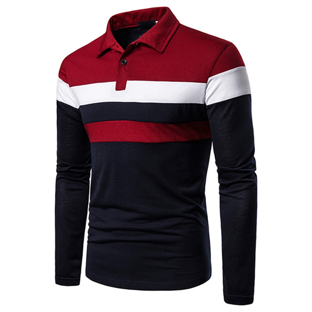 Spring Autumn Men Contrast Color Striped Shirt Long Sleeve Pullover Casual Stand Collar Stretch Slim Basic MaleTee Top