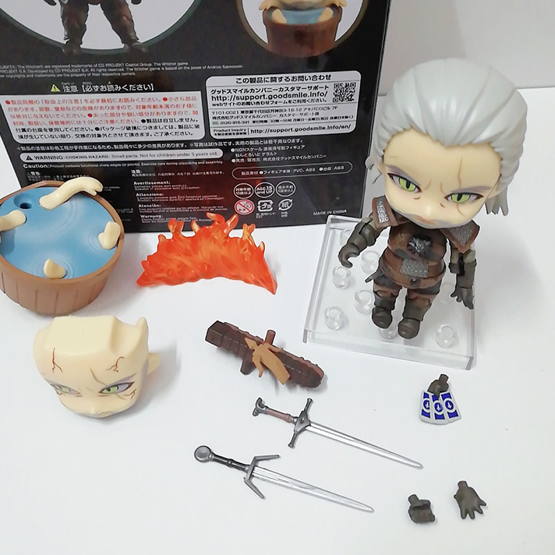 Nendoroid 907 Witcher-ed 3 Wild Hunt Geralt White Wolf PVC Action Figures Model Toys Gift Doll