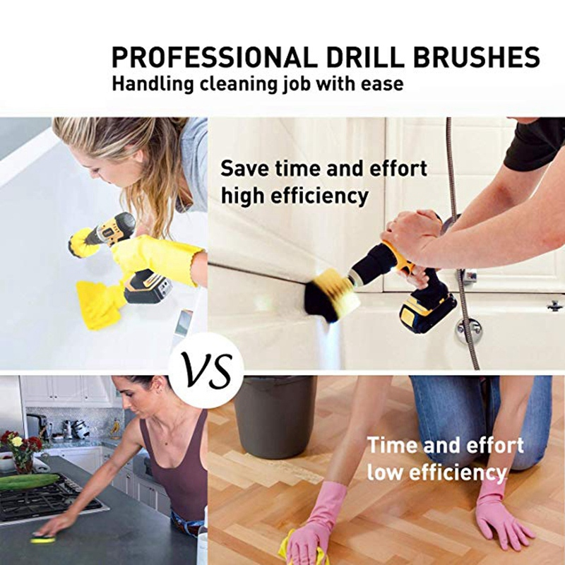 Image 5 - 21 Piece Drill Brush Attachments Set Scrub Pads Sponge Power Scrubber Brush with Rotate Extend Long Attachment All Purpose CleanElectric Drills   -