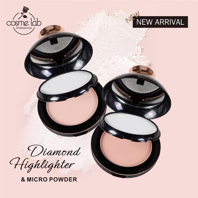 Diamond High Gloss Powder Cake Oil Control Lasting Anti-perspiration Glitter Powder Double Dry Powder Concealer TSLM1