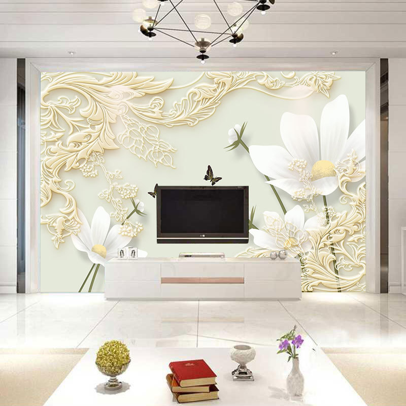TV Backdrop Wallpaper Modern Minimalist Living Room Lotus Stereo Seamless Wall Cloth TV Wall Large Customize The Murals