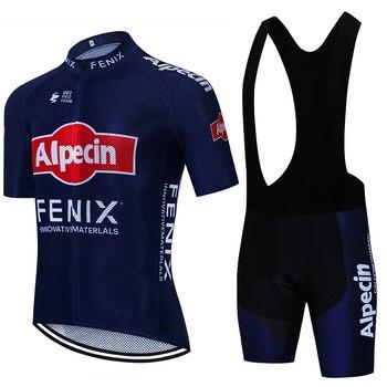 ALPECIN-Ropa de Ciclismo para hombre, conjunto de JERSEY y pantalones cortos de...
